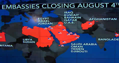 US closes two dozen embassies and consulates